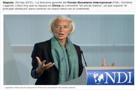 """Lagarde critica que la riqueza en África se concentre """"en pocas manos"""""""