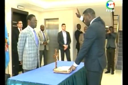 """Miguel Evuna """"jura su cargo ante el Presidente Obiang en Mongomo"""""""