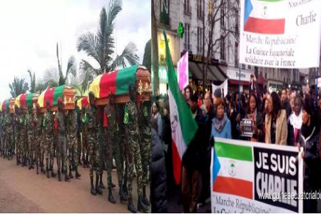 Miguel Oyono Ndong Mifumu  participa en la marcha por la libertad de expresión en París
