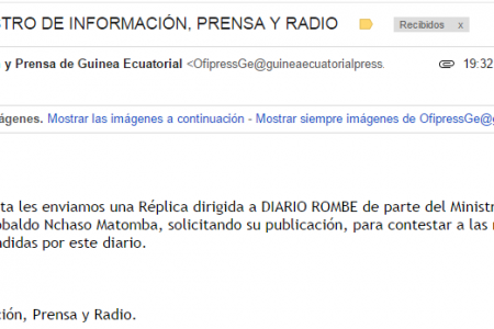 REPLICA DEL MINISTRO DE INFORMACIÓN, PRENSA Y RADIO