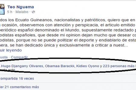 """Nguema Obiang """"Algún día entregaremos a España los Guineanos nacionalizados españoles"""""""