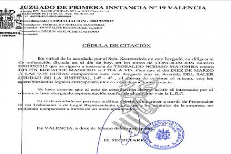 El Gobierno de Guinea Ecuatorial  exige una indemnización de 100.000 euros a Delfin Mocache