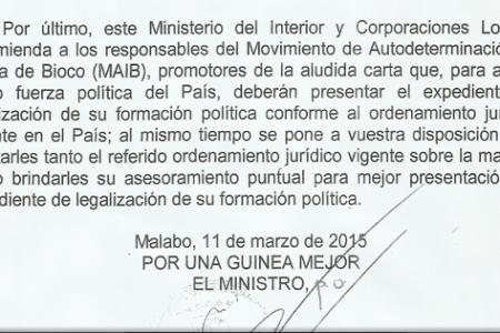 """Según Nguema Onguene """"El MAIB debe solicitar su legalización para celebrar reuniones"""""""