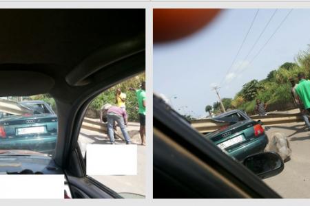 Impresionante  accidente de coche en las inmediaciones de la Embajada de nigeria