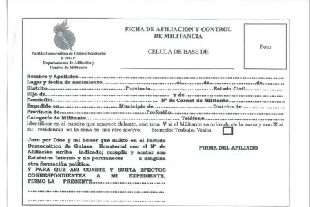 Afiliación forzosa de todos los residentes de Guinea Ecuatorial al PDGE