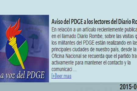 El PDGE amenaza y advierte a los lectores (Pueblo de Guinea) del Diario Rombe