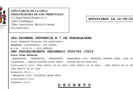 La demanda contra Crisantos Obama Ondo admitida a trámite en un Juzgado de España