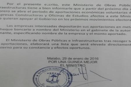 El Ministro Nko Mbula obliga a las constructoras extranjeras financiar la campaña electoral del PDGE