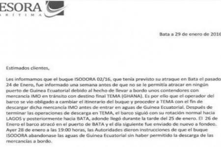 El Gobierno prohíbe al Buque ISODORA atracar en Guinea Ecuatorial porque lleva material IMO