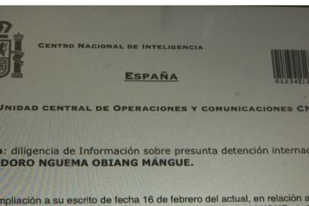 El Gobierno de Guinea Ecuatorial falsifica el membrete del CNI