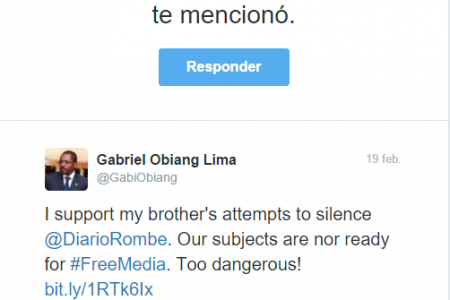 Mbega Obiang Lima «apoyo a mi hermano en su intento de silenciar Diario Rombe»