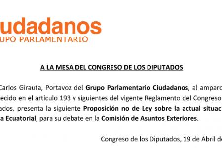 El Grupo Parlamentario Ciudadanos presenta una Proposición no de Ley sobre la actual situación en Guinea