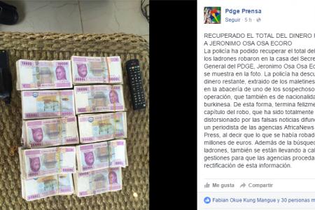 El PDGE festeja felizmente haber recuperado los 60 millones de euros robados al Secretario General