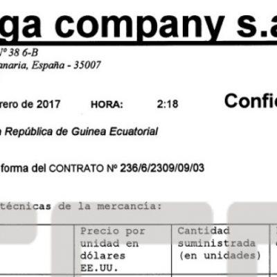 Las facturas encontradas en los registros de compraventa de armas de los testaferros de Obiang