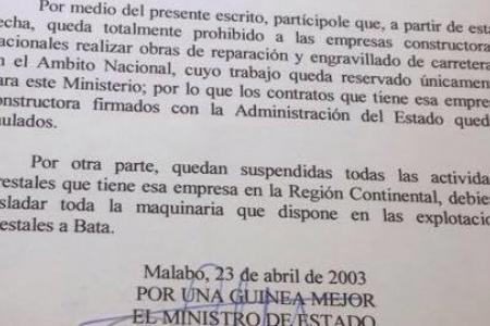 Teodoro Nguema prohibió en 2003 a las constructoras y empresas forestales operar sin su consentimiento