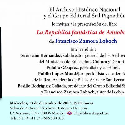 Presentación en Madrid del libro La República fantástica de Annobón, de Francisco Zamora Loboch