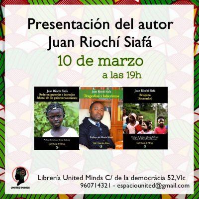 El escritor Juan Riochí presentará sus libros el 10 de marzo en Valencia
