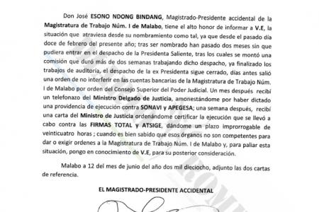 El magistrado asesinado envió una carta a Obiang denunciando las amenazas de Juan Olo Mba Nseng