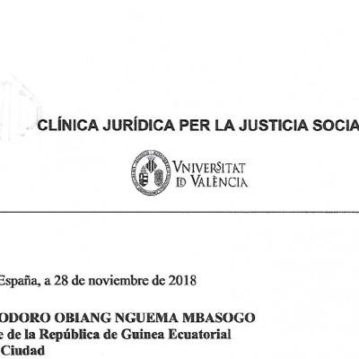 Un alto miembro del Poder Judicial llevará a tribunales internacionales al Vicepresidente Teodoro Nguema Obiang Mangue