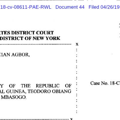 Un Tribunal de Nueva York admite a trámite una demanda contra Teodoro Obiang Nguema