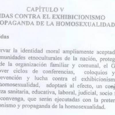 Se filtra el anteproyecto de ley con polémicas medidas persecutorias contra la homosexualidad