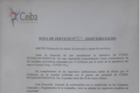Ceiba aprovecha la coyuntura del covid-19 para reducir ilegalmente el sueldo de sus empleados al 50%