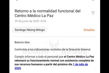 COVID-19: Un Email de Recursos Humanos indigna al personal sanitario del Centro Médico la Paz