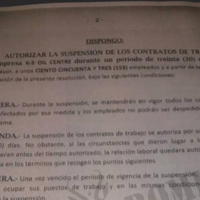K5 Freeport & Oil Center desautoriza al gobierno y prepara el despido de 153 empleados