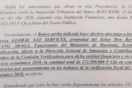Seis Inspectores Hacienda utilizaron una empresa ficticia para cobrar 172.500.000Fcfa de comisión a BGFI Bank
