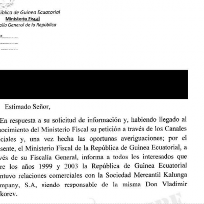 Guinea Ecuatorial intentó justificar las operaciones comerciales de Kalunga Company, S.A