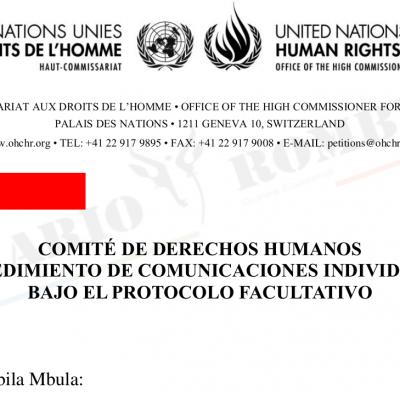El Comité de Derechos Humanos admite a trámite una denuncia contra Guinea Ecuatorial