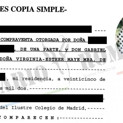 Kalunga Company: Obiang Lima y Esther Maye compraron en 2002 un piso en Madrid