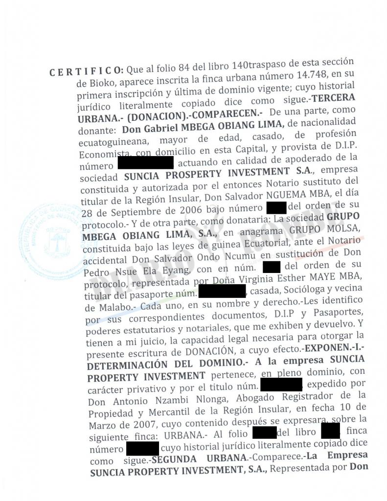 El ministro Obiang Lima pagó una abultada suma de dinero por el hotel Ureca de Malabo