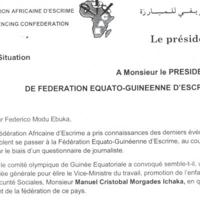 Espaldarazo de las organizaciones internacionales de Esgrima a Federico Modu Ebuka