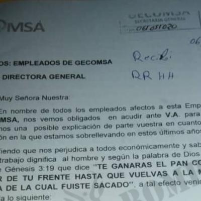 Trabajadores de GECOMSA: 30 meses sin salarios y un intermediario les bloquea la posibilidad de llegar mediante una carta a Nguema Obiang