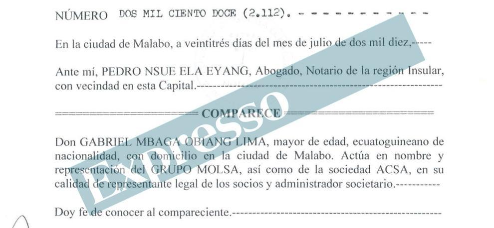 Escritura donde Gabriel Obiang actúa en nombre de Grupo Molsa y de su filial ACSA.